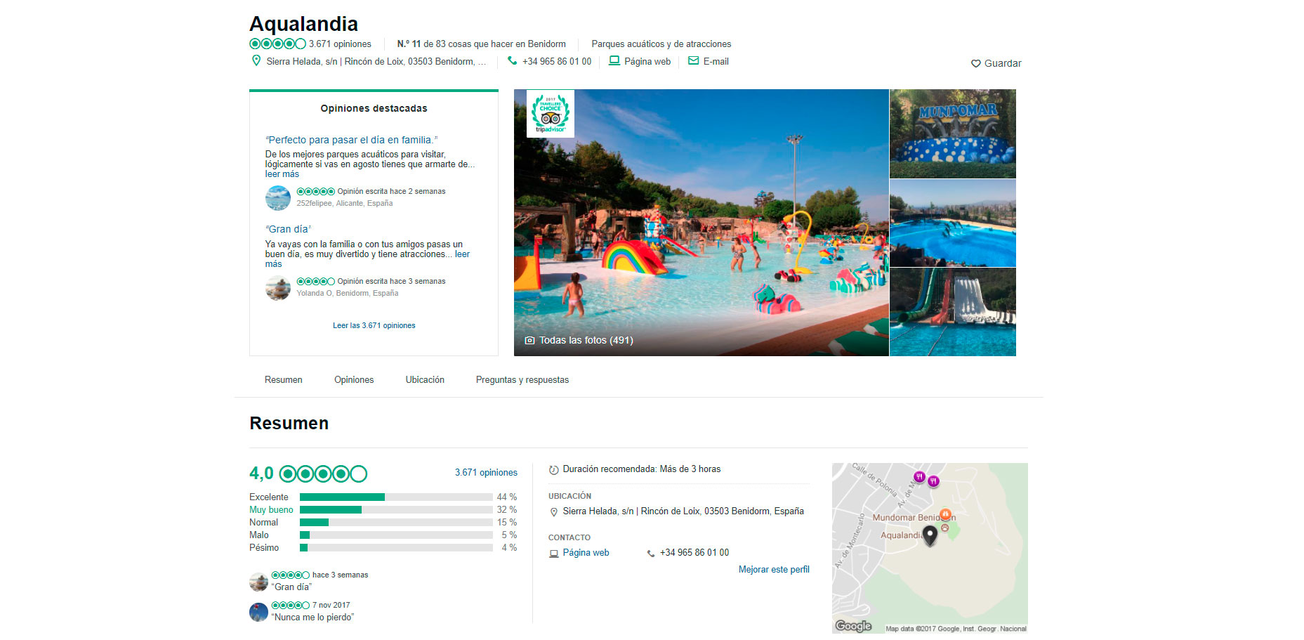 Aqualandia amongst the Best Water Parks of Spain according to TripAdvisor